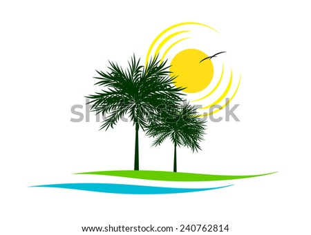 logo. Couple of palm trees and hot sun