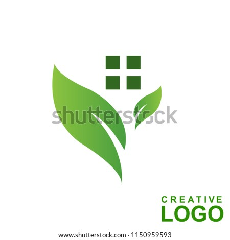 Logo Creative Home Property Concept with color green leaf