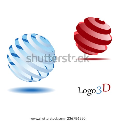 Logo 3d 2 balls - stock vector