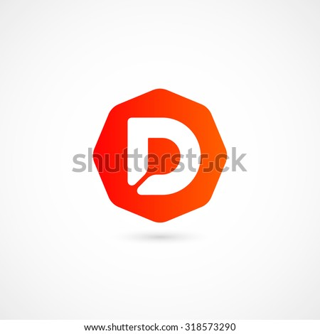 Logo D letter. Isolated on white background. Vector illustration, eps 10. - stock vector