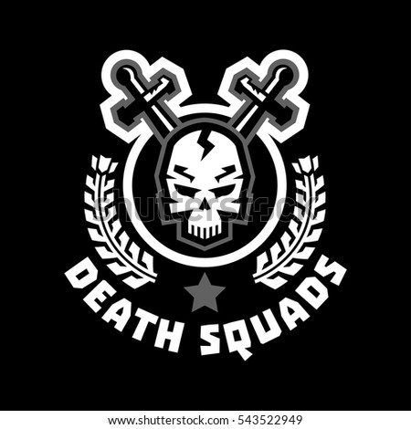 Logo death squad swords cross skull and wreath sticker isolated and encircled by