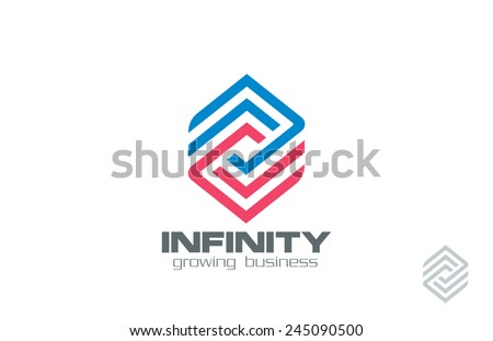 Logo Design abstract infinity loop Financial Business Technology vector template. Logotype for Finance, Construction, Real Estate etc.  Creative Rhombus infinite line art looped shape. Editable. - stock vector
