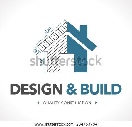 Logo - design and build - stock vector