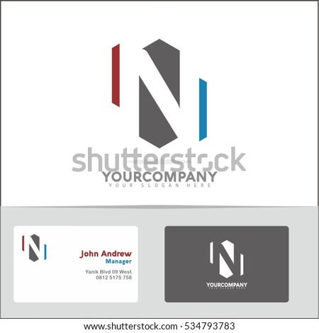 Logo design element two business cards stock vector 534793783 logo design element with two business cards letter n vector logo symbol in the red colourmoves Image collections