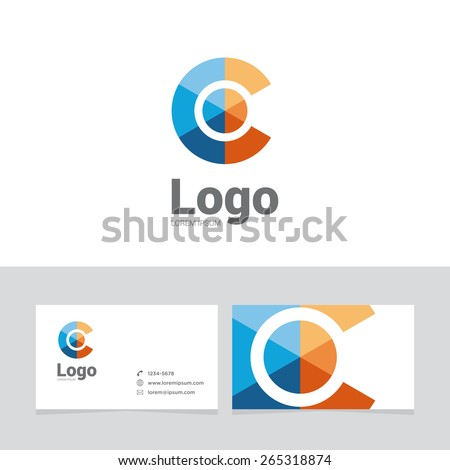 Logo design element with two business cards. Logo letter. Sphere symbol - stock vector