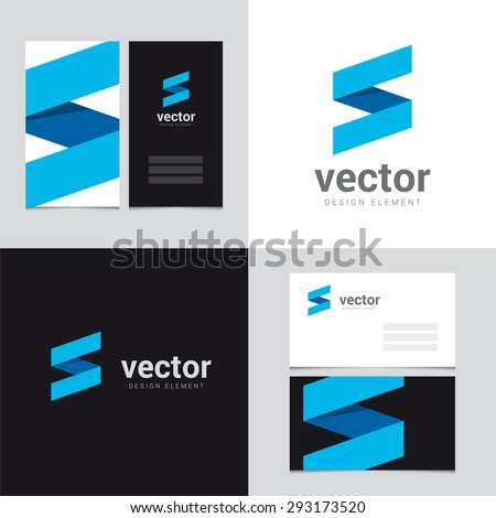 Logo design element with two business cards template - Vector graphic design elements for brand identity.  - stock vector