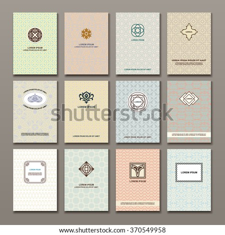 Logo Design, Pages Templates for Flyers, Set of  Brochures, Posters and Cards with japanese, islamic, indian, chinese style ornaments, Geometric and floral monogram shapes in retro style.