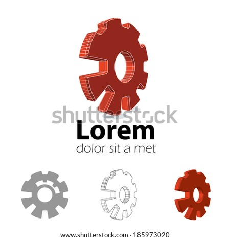 Logo design set. Emblem with 3d cog wheel. Eps10 vector for corporate identity.  - stock vector