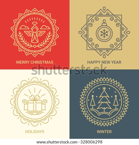 Logo design templates in linear style on Red, Gold, Beige and Grey background. Christmas, New Year, holidays and winter signs - winter celebration concept. Perfect as emblems, labels and badges - stock vector