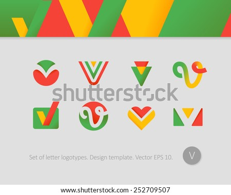 Logo design templates. Stylized letter V.