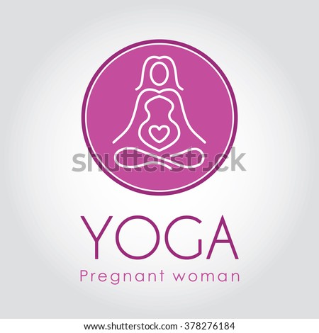 Logo design. Yoga for pregnant women.Vector illustration. - stock vector