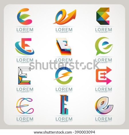 Logo E element and Abstract web Icon and globe vector symbol. Unusual sign icon and sticker set. Graphic design easy editable for Your design. Modern logotype icon. - stock vector