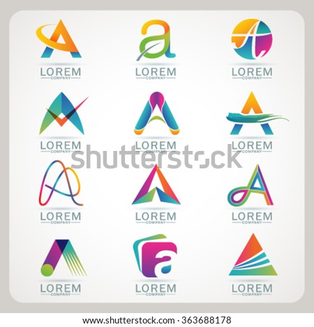 Logo element A and Abstract web Icon and globe vector symbol. Unusual sign icon and sticker set. Graphic design easy editable for Your design. Modern logotype icon. - stock vector