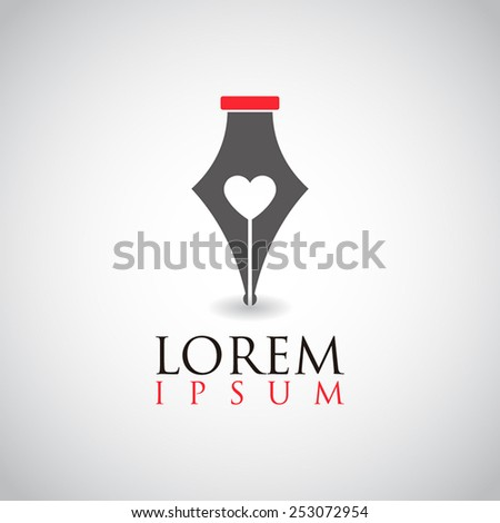 Logo elements simple smart love or heart pen collection exclusive business, innovative, and creative inspiration company, design, vector for template - stock vector