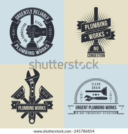 Logo, emblem of plumbers  in old-school style - 4 different versions. Force cup, wrench, hand with plunger. - stock vector