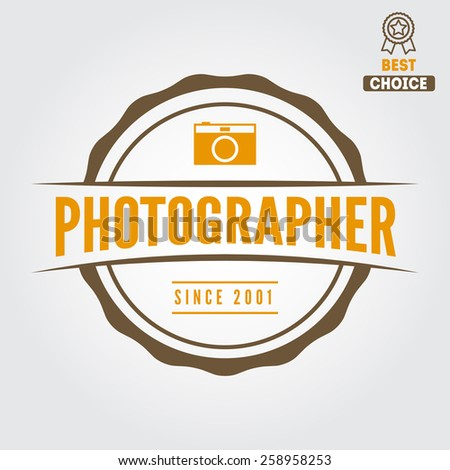 Logo, emblem, print, sticker, label or logotype elements for studio or photographer, photograph