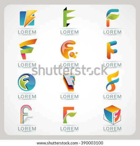 Logo F element and Abstract web Icon and globe vector symbol. Unusual sign icon and sticker set. Graphic design easy editable for Your design. Modern logotype icon. - stock vector