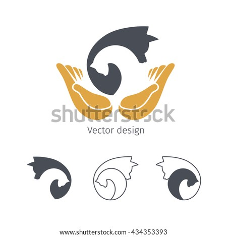 Logo for animal shelters, dog and cat with open hands, vector illustration for pet care