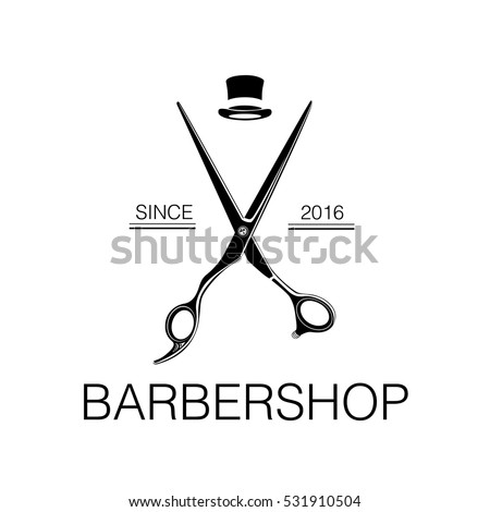 Logo For Barbershop Hair Salon With Barber Scissors And Top Hat Vector Illustration