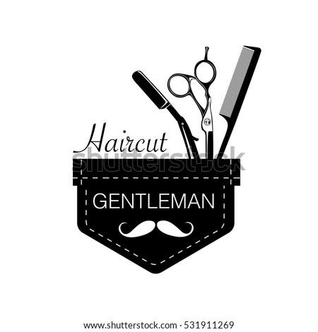 Logo For Barbershop Hair Salon With Barber Scissors Razor And Comb Vector Illustration