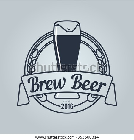 Logo for Beer House with dark ale glass.  Icon is ready for print in any size. Made as gliphicon for web using