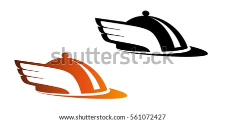 Logo for fast, urgent delivery food service or catering. Black and color vector logo, isolated on background.