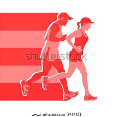 logo for jogging club (vector) - stock vector