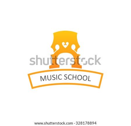 Logo for Music School with Illustration of Cello's Bridge isolated on white background - stock vector