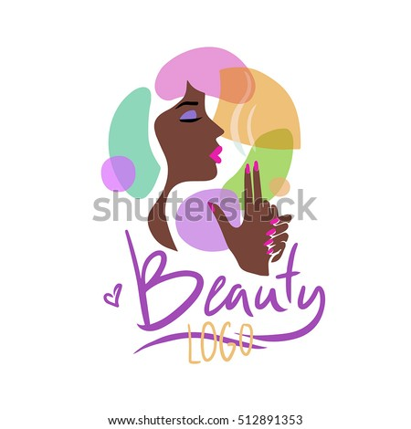 logo for the beauty salon image profile elegant dark skinned girl with red lips - Nail Salon Logo Design Ideas