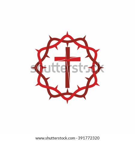 Logo for the church. The cross of Jesus Christ and the crown of thorns - stock vector