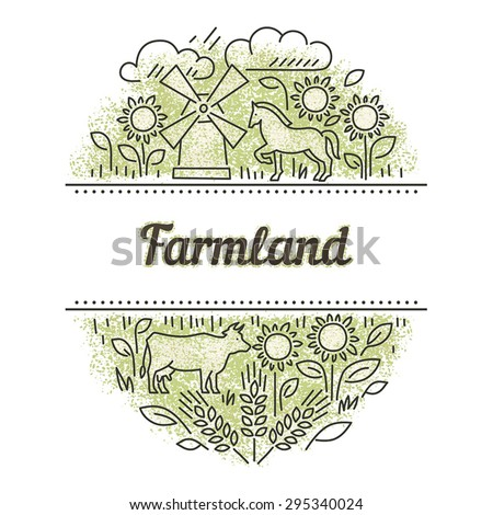 Logo for the farm with images of sunflowers and animals - stock vector