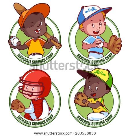 Logo for the kids baseball summer camp. Vector illustration on white background. - stock vector