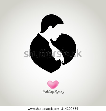 Logo for wedding agency with silhouettes of happy bride and groom - stock vector
