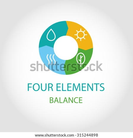 Logo four natural elements. The energy balance. The balance of nature. - stock vector