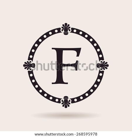 Logo frame and design templates. Vintage labels and badges. Vector quality illustration letter F - stock vector