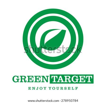 logo green target nature leaf - stock vector