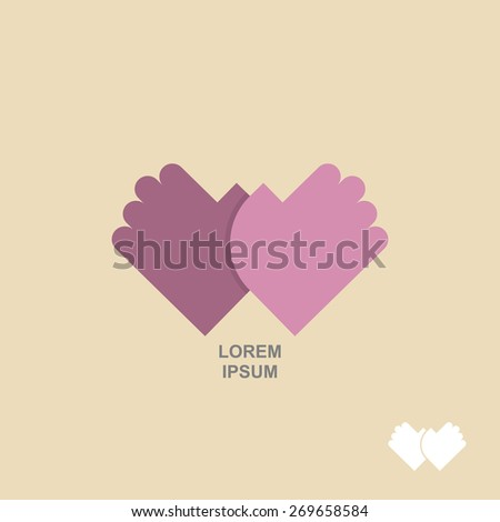 logo hands together. Template for  business concept of Partnership, meeting, greeting - stock vector