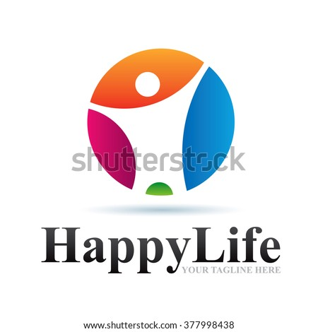 Logo Happy Life Icon Element Template Design Logos - stock vector