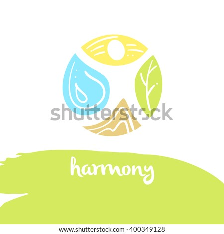 Logo harmony, four nature element, brown ground, yellow sun, blue water, green tree. Illustration for eco-friendly technologies and clean energy environmental organization. - stock vector