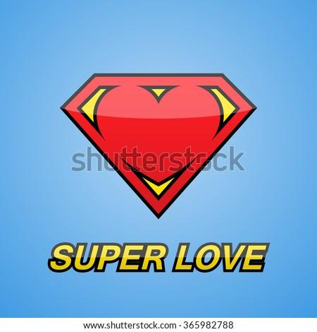 Logo. Heart. Super love. - stock vector