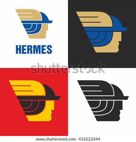 Logo Hermes the god of commerce. Simple vector.