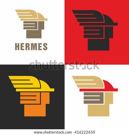 Logo Hermes the god of commerce. Simple vector.