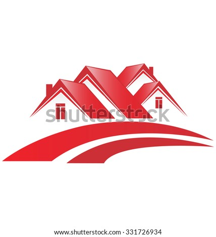 Logo Houses Real Estate Business Card - stock vector