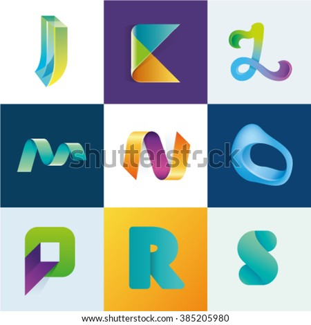 Logo idea of letters J K L M N O P R S set - stock vector
