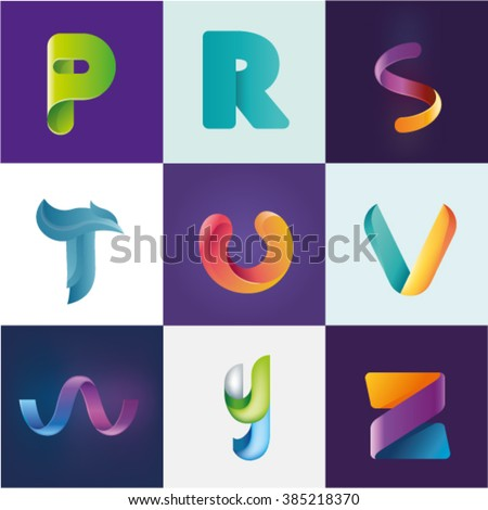 Logo idea of letters P R S T U V W Y Z set - stock vector