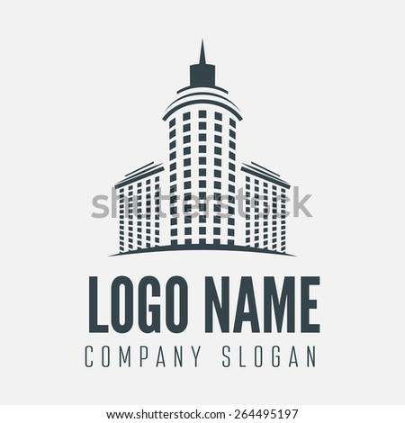 Logo, label, badge, emblem or logotype element with building for business, corporation or web