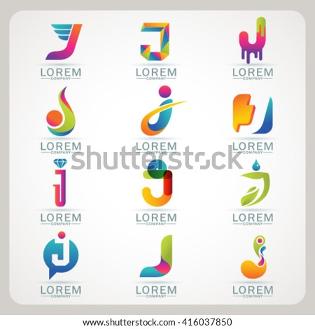 Logo letter I element and Abstract web Icon and globe vector symbol. Unusual sign icon and sticker set. Graphic design easy editable for Your design. Modern logotype icon. - stock vector