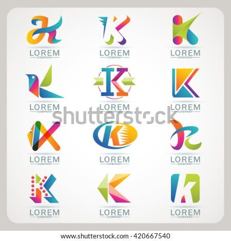 Logo letter K element and Abstract web Icon and globe vector symbol. Unusual sign icon and sticker set. Graphic design easy editable for Your design. Modern logotype icon. - stock vector