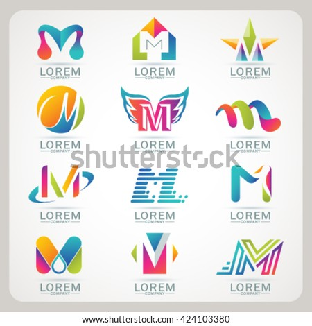 Logo letter M element and Abstract web Icon and globe vector symbol. Unusual sign icon and sticker set. Graphic design easy editable for Your design. Modern logotype icon. - stock vector