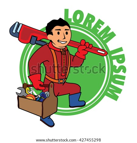 Logo man with a wrench and tool box. Handyman home repair corporate service badge symbol isolated on white background, vector illustration. Can be used for T-shirts print, labels, badges, stickers.